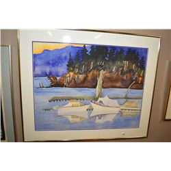 Framed original watercolour painting of docked boats scene signed by artist Melanie DesRoches 1992,