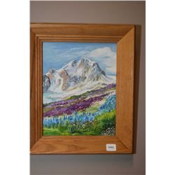 "Framed oil on board painting of the Alpine Meadow in B.C, signed by Sara Cush, 10"" X 8"""