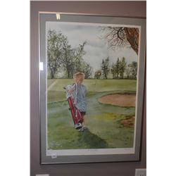 "Framed limited edition print titled ""The Young Golfer"" pencil signed by artist P. Kleemola, 71/505"