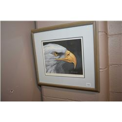 Framed limited edition print of an eagle, pencil signed by artist R. Fehr, 488/750