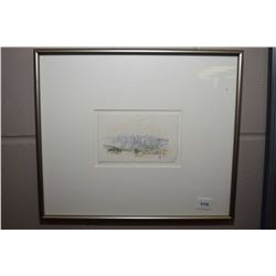 Small framed watercolour painting of a mountain scene, initialled by artist