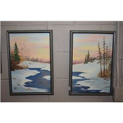 Two framed oil on board winter river scene canvass to make one larger picture, signed by artist Sole