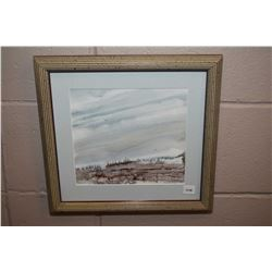 "Framed original watercolour painting of a rural skyline signed by artist Richard Dixon, 8"" X 9"""