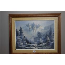 "Framed oil on canvas painting of a winter mountain scene signed by artist Simon, 12"" X 16"""
