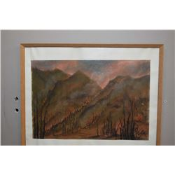 "Framed pastel on paper of a mountain forest fire scene signed by artist Peg (?), 12"" X 17"""