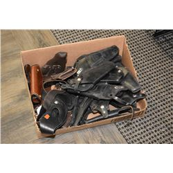 Selection of used leather holsters, mostly surplus revolver plus a Ernie Hill speed holster etc.