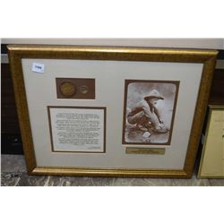 """Framed """"Lust for Gold-Quest of the 49ers"""" collage including gold rush coin and nugget and May's Over"""