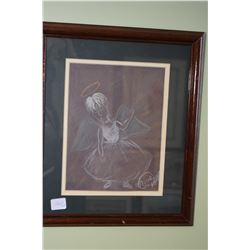 """Two framed original artworks including coloured pencil abstract with presentation plaque """"Sanhendrin"""