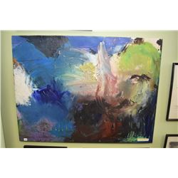 """Original stretcher framed acrylic on canvas painting titled """"The Blue Ground"""" with name plaque stati"""