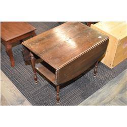 Mid 20th century single drawer drop leaf walnut occasional table