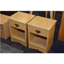 Pair of semi contemporary maple bedside tables