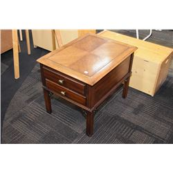 Semi contemporary matched grain two drawer side table