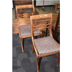Pair of matching Regency style side chairs
