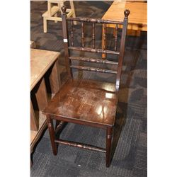 Semi contemporary all wood side chair with turned supports