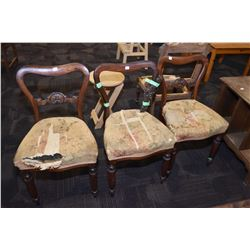 Set of three Victorian side chairs with upholstered seats