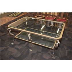 Heavy quality bird motif metal and glass two tier coffee table