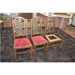 Set of three vintage oak side chair with carved backs