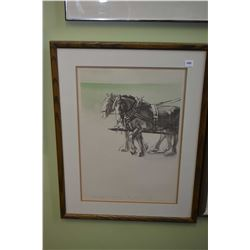 """Framed limited edition print titled """"Those Magnificent Clydesdales"""" pencil signed by artist 3/72"""