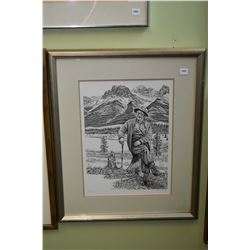 Limited edition print of elder man out for a walk, pencil signed by artist Michael Vincent, 564/650
