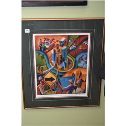 Framed limited edition print Edmonton promotional poster, pencil signed by artist 17/54