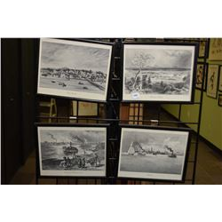 Ten black and white prints of etchings including Bartlett's, Clayton, Schell etc.