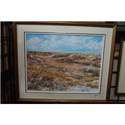 """Framed acrylic on canvas, titled on verso """"Through the Valley, Echodale"""" signed by artist Karen Zeig"""
