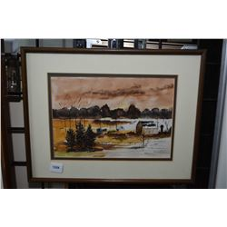 """Framed watercolour painting of a farmyard signed by artist Cummings, 7"""" X 10"""""""