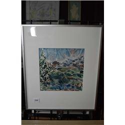 "Framed original watercolour of an abstract mountain range by artist Monice Dery, 7"" X 7"""