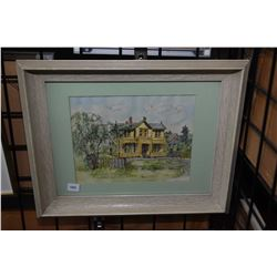 """Framed original watercolour titled """"Birthplace of Emily Carr, Victoria, B.C"""" signed by artist B.E. M"""