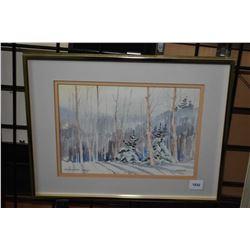 "Framed original watercolour painting titled ""Kapkigewan Snow"" monogrammed by artist Muriel E. Newton"