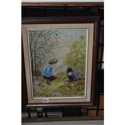 """Framed oil on canvas painting of young fisherman signed by artist C. Wolfe, 12"""" X 9"""""""
