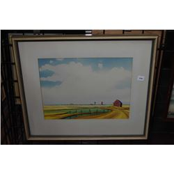 """Framed original watercolour of a rural town with elevators signed by artist R. N. Hurley 1970, 11"""" X"""