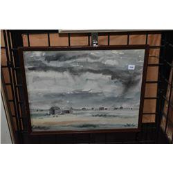 Framed original watercolour painting of a rural thunderstorm setting signed by artist Bert Henderson