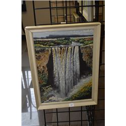"""Framed original textural heavy media painting titled """"Kaiteur Falls"""" initialled by artist E.F. 17"""" X"""
