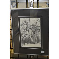 Two small framed prints including a forest scene and street scene