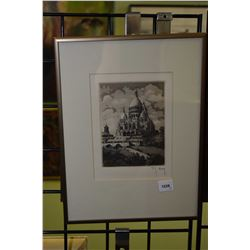 Two small etched prints including Sacre Coeur and Notre Dame Cathedral in Paris