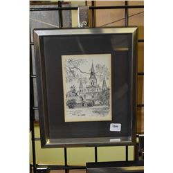 Group of three prints of black and white etching, all New Orleans themed