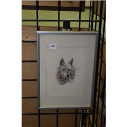 """Framed original watercolour painting of a dog's head signed by artist Karyn Holden 8"""" X 6"""""""