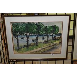 Two framed artworks including tree lined canal painting with boats and a European arched tower scene