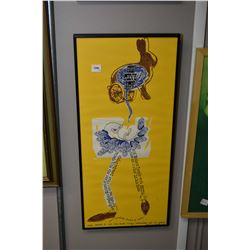Two framed artworks including concert poster print and a lady at her dressing table/skill print