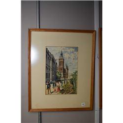 "Framed original watercolour of Paris's flower market signed by artist Jean Richar, 12"" X 8"""