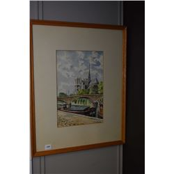 """Framed original watercolour painting of Notre Dame Cathedral signed by artist Jean Richar, 12"""" X 8"""""""