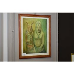 Two framed artworks including a spiritual themed watercolour and glamour style picture