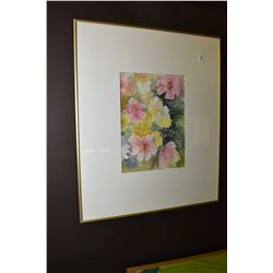 """Framed floral watercolour painting signed by D. Yamans (?), 9"""" X 13"""""""