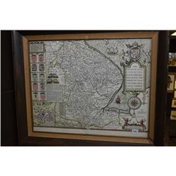 Framed antique style map featuring counties in England