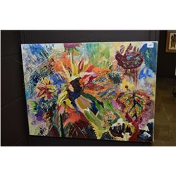 """Stretcher framed mixed media abstract painting, labelled on verso """"Shannon Savy"""", 18"""" X 24"""""""