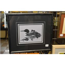 """Framed original gouache painting of a loon on a lake signed by artist G. Archer, 6"""" X 7"""""""