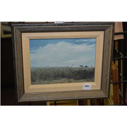 """Framed oil on board painting titled on verso """"Farm Scene I"""" signed by artist Malcolm Callaway, 6"""" X"""