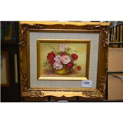 """Two small framed original paintings including still-life on board signed by artist Win Patchett, 4"""""""