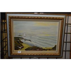 Framed acrylic on board painting of a shoreline with lighthouse and sailing boat signed by artist Ge